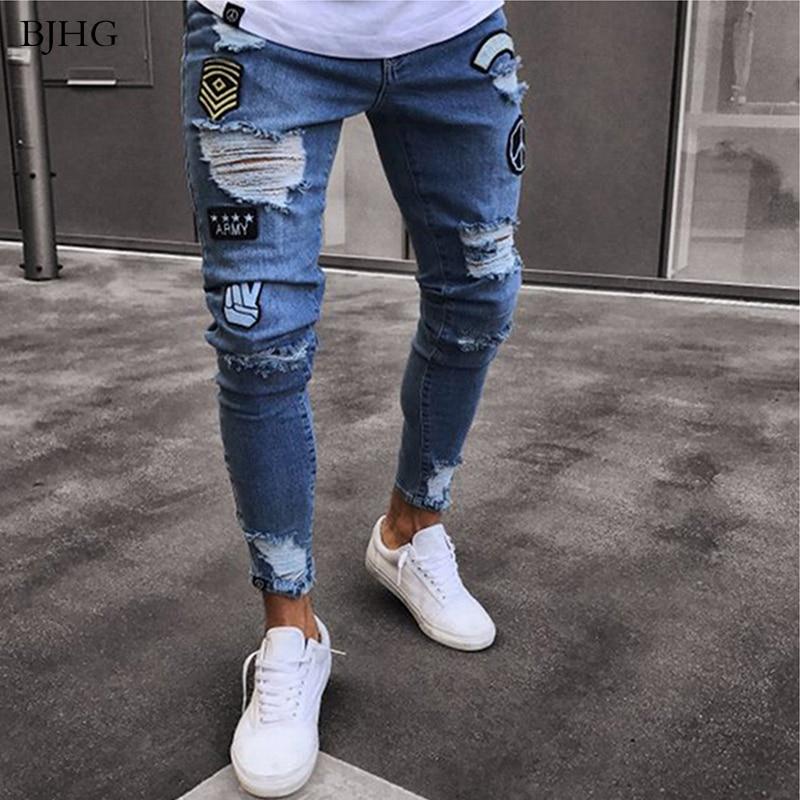 Bjhg 2020 Hombres Elastico Ripped Skinny De Motorista Jeans Destruido Delgado Denim Pantalones Hombre Pantalones De Cintura Elastica Pantalones Harem Hombre Corredor 4xl Omeda Tienda De Ropa