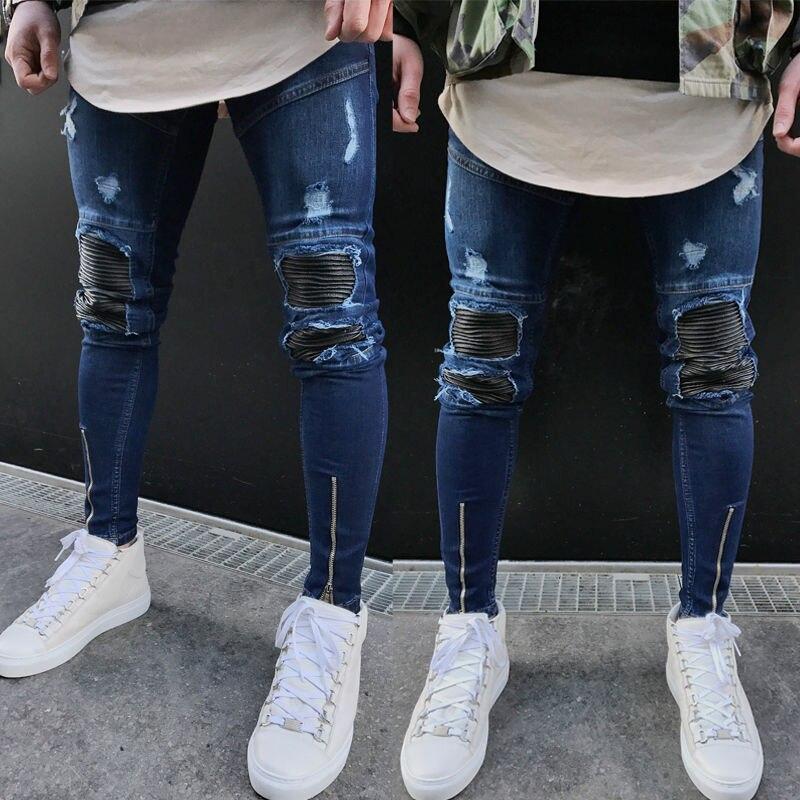Itfabs Nuevo Modelo Pantalones Vaqueros Rotos Desgastados Para Hombre A La Moda Vaqueros Deshilachados Vintage Con Cremallera Pantalones De Motociclista Callejero Omeda Tienda De Ropa