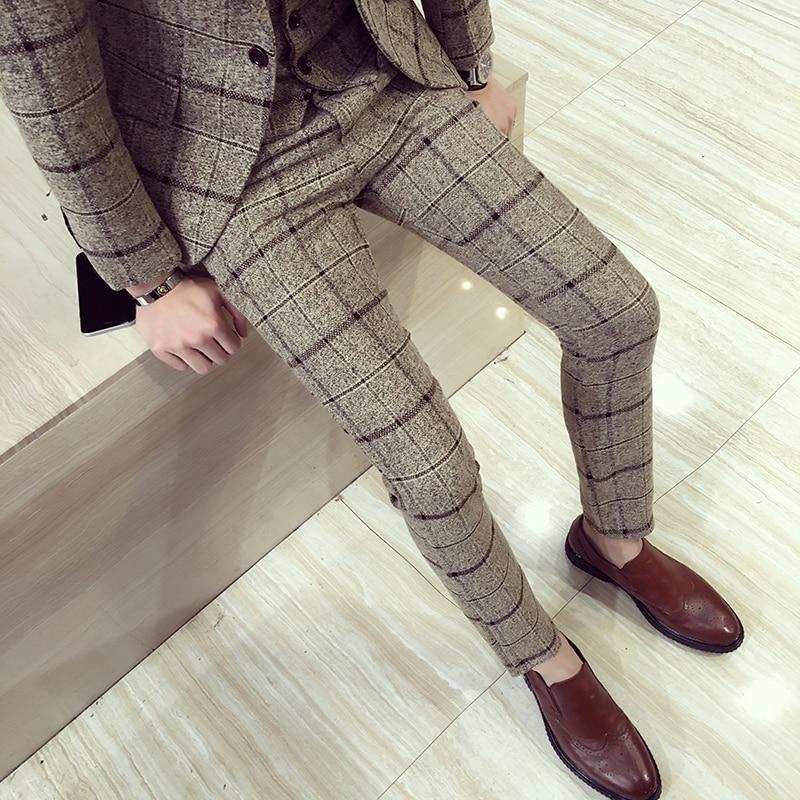 Otono Invierno Para Hombre Pantalones A Cuadros Britanico Slim Fit Pantalones De Vestir De Los Hombres De Talla Grande Pantalon Carreaux Homme Formal Casual Pantalones Para Los Hombres Omeda Tienda