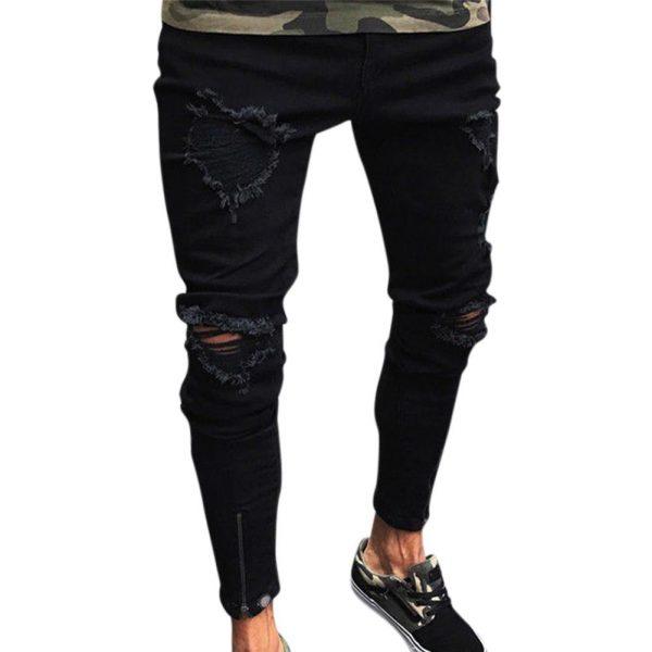 Pantalones Vaqueros Ajustados Rasgados Para Hombre A La Moda Pantalones Vaqueros Deshilachados Ajustados Con Cremallera Pantalones Ajustados Pantalones Ropa Para Hombre Omeda Tienda De Ropa