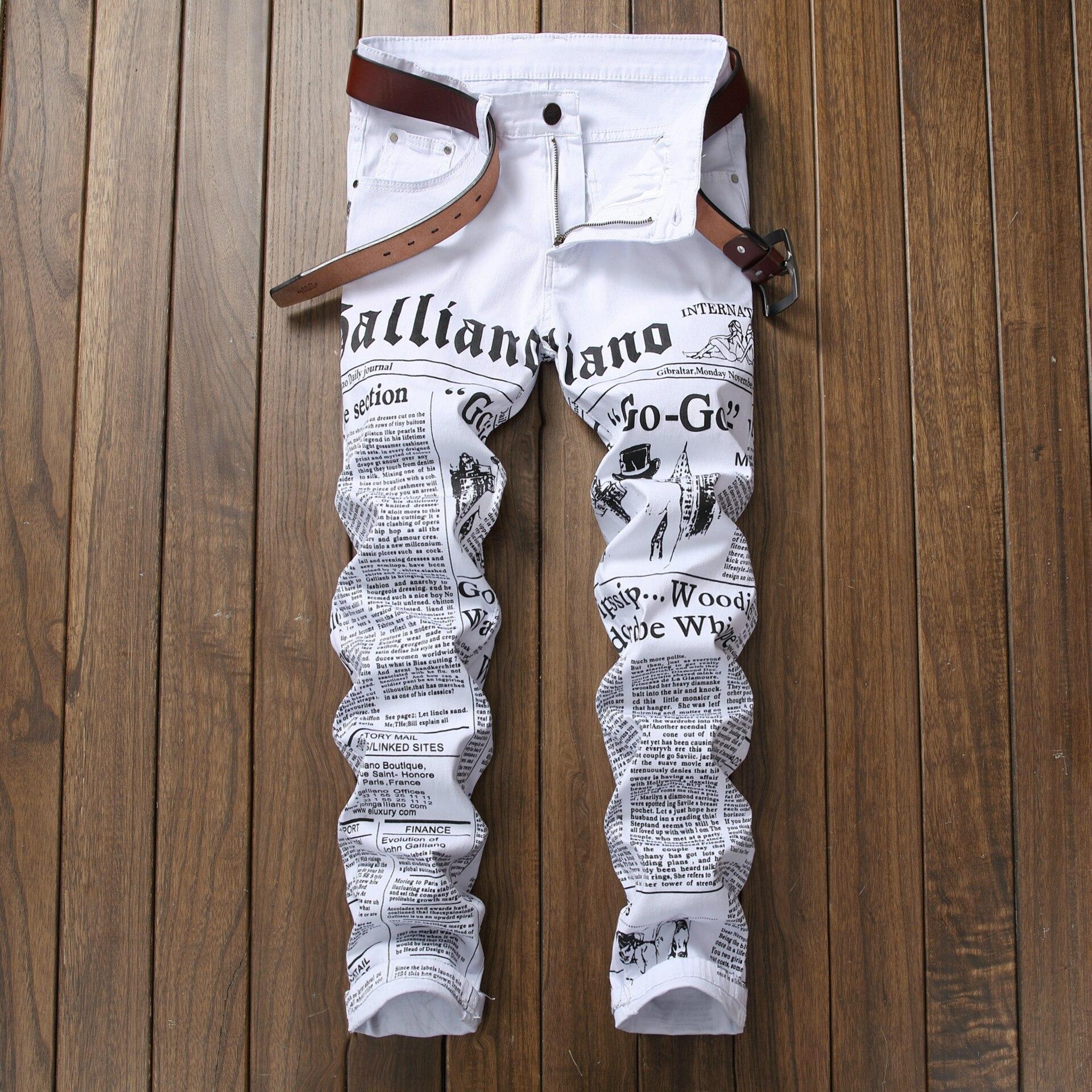 Pantalones Vaqueros Para Hombre Europeos Y Americanos Con Letras Impresas Pantalones Vaqueros Casuales Elasticos Para Jovenes Pantalones Vaqueros Rasgados De Moda Para Hombres Hip Hop Omeda Tienda De Ropa