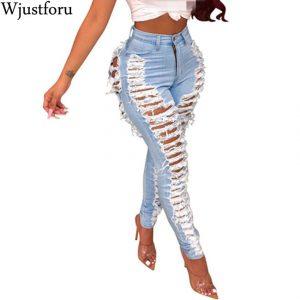 Pantalones Vaqueros Rasgados Sexys Wjustforu Para Mujer Moda Casual Club Agujero Denim Mujer Bodycon Ahuecado Hacia Fuera Lapiz Largo Jeans Vestidos Omeda Tienda De Ropa