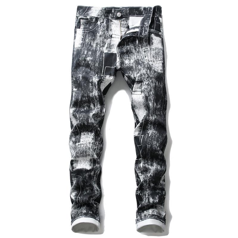 Pantalones vaqueros rectos para Hombre de alta calidad, pantalones de motorista informales con estampado Slim Fit para Hombre